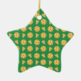 green pizza pattern christmas tree ornament
