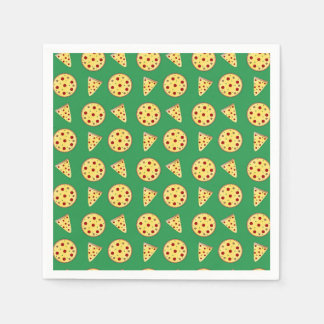 Green pizza pattern paper napkin