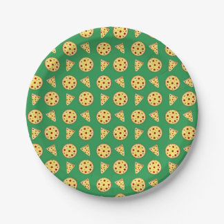 Green pizza pattern paper plate