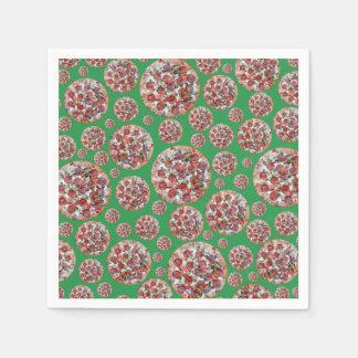 Green pizza pie disposable napkins