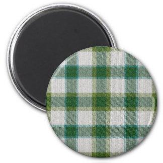 Green Plaid 2 Inch Round Magnet