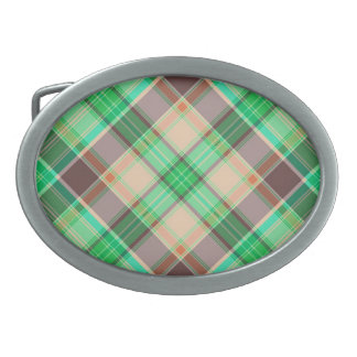 Green Plaid Abstract Design Oval Belt Buckle