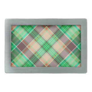 Green Plaid Abstract Design Belt Buckles