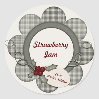 Green Plaid and Holly Classic Round Sticker
