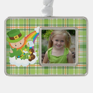 Green Plaid and Leprechauns Silver Plated Framed Ornament