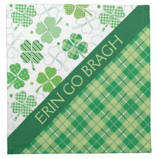 Green Plaid and Shamrocks Cloth Napkin