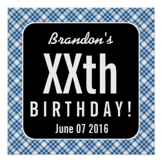 GREEN PLAID Any Year Birthday Party B05 Poster