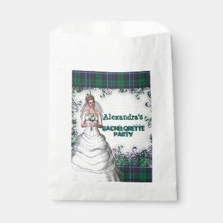 Green plaid bride personalized bachelorette party favor bag