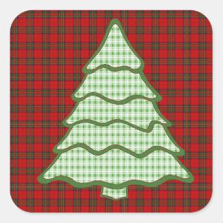 Green Plaid Christmas Tree Square Sticker