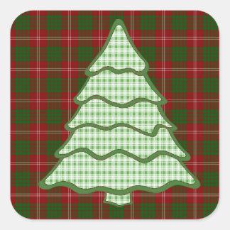 Green Plaid Christmas Tree V2 Square Sticker