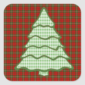Green Plaid Christmas Tree V3 Square Sticker