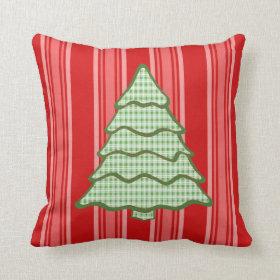 Green Plaid Christmas Tree V4 Pillow