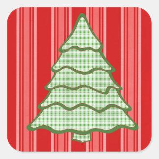 Green Plaid Christmas Tree V4 Square Sticker