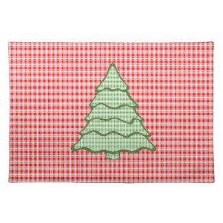 Green Plaid Christmas Tree V6 Cloth Placemat