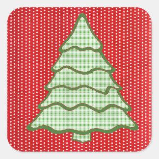 Green Plaid Christmas Tree V6 Square Sticker