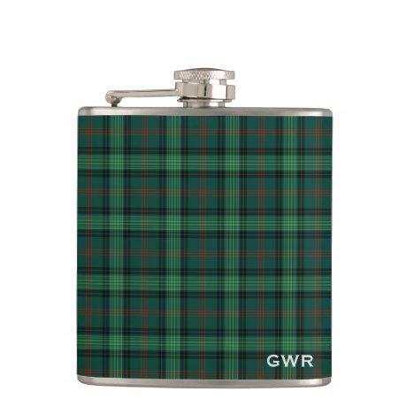 Green Plaid Clan Ross Hunting Tartan Monogram Flask