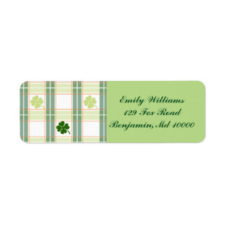 Green Plaid Four Leaf Clovers Label