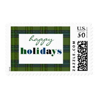 Green Plaid Happy Holidays - Postage Stamp