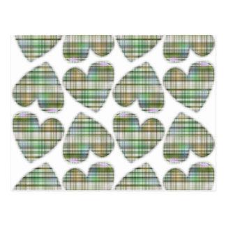 Green Plaid Hearts Postcard