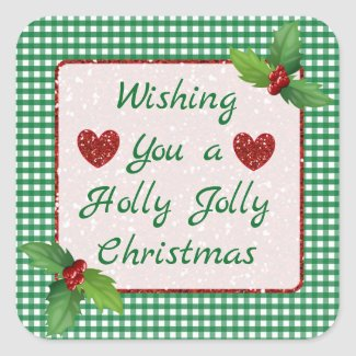 Green Plaid Holly Jolly Christmas Stickers