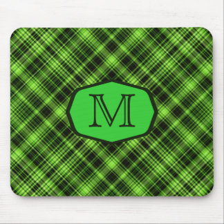 Green Plaid Marquee Monogram Mouse Pad