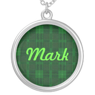 Green Plaid Name Necklace