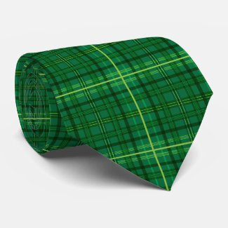 Green Plaid Neck Tie