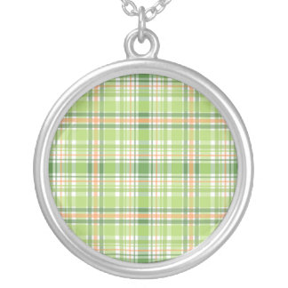Green Plaid Personalized Necklace