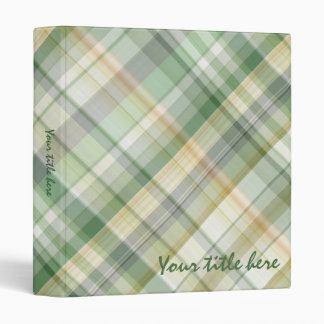 Green plaid pattern 3 ring binder