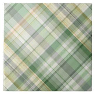 Green plaid pattern ceramic tile