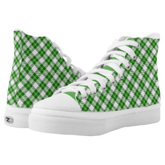 Green Plaid Pattern High-Top Sneakers