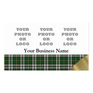 Green plaid pattern photo logo template business cards