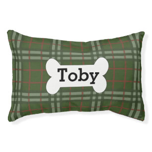 14b77ee80e6b Green Plaid Personalized With Dog Bone Dog Bed