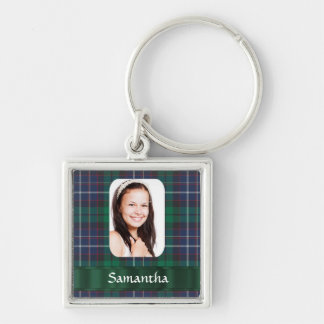 Green plaid photo personalized photo template keychain