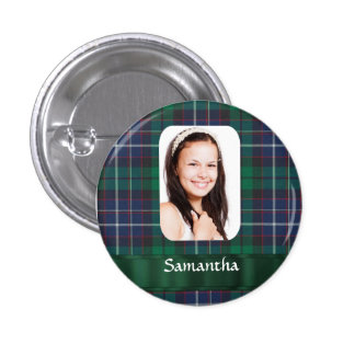 Green plaid photo template 1 inch round button