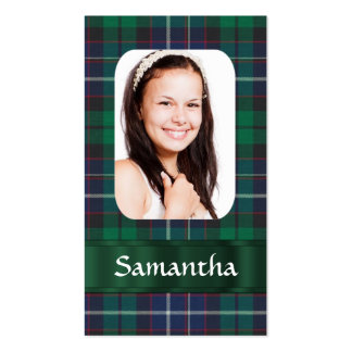 Green plaid photo template Double-Sided standard business cards (Pack of 100)