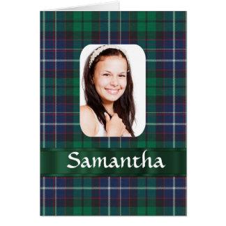 Green plaid photo template greeting card