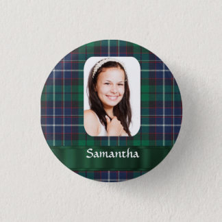 Green plaid photo template pinback button