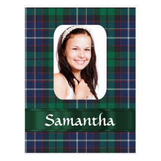Green plaid photo template postcard