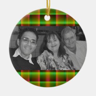 green plaid photoframe ceramic ornament