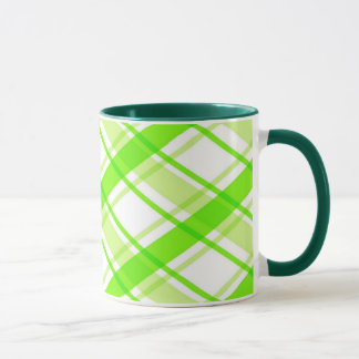Green Plaid Ringer Mug