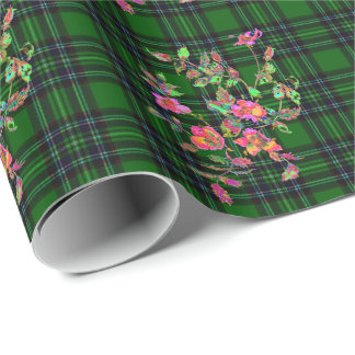 Green plaid -roses wrapping paper