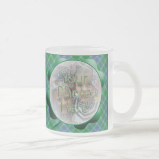Green Plaid Shamrock Customizable Photo Mug