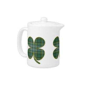 Green Plaid Shamrock Tea Pot