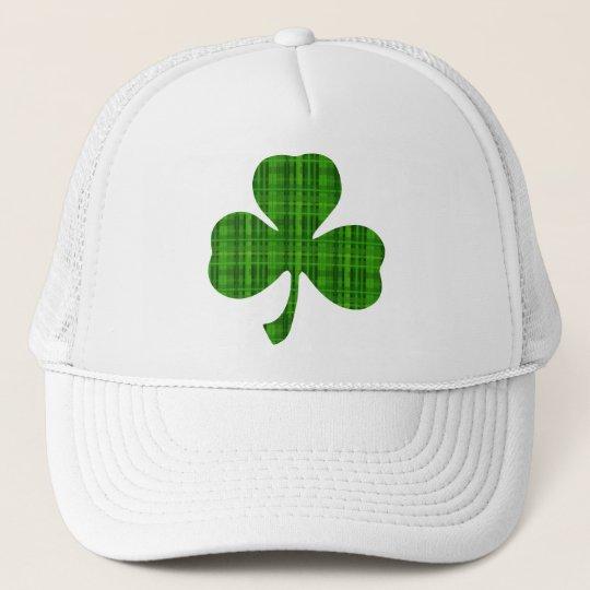 dd93a4bb12f43 Green Plaid Shamrock Trucker Hat