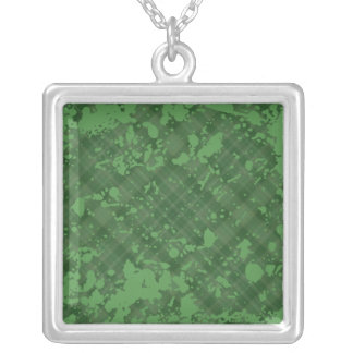 green plaid silver plated necklace