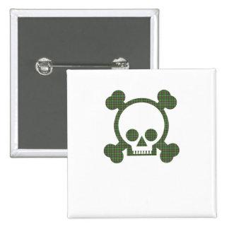Green Plaid Skull 2 Inch Square Button