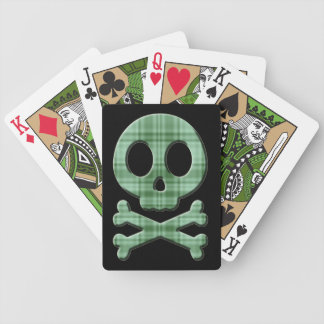 Green Plaid Skull Bicycle Playing Cards