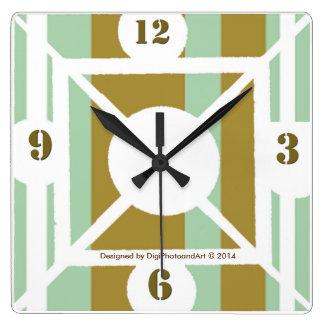Green Plaid Square Clock