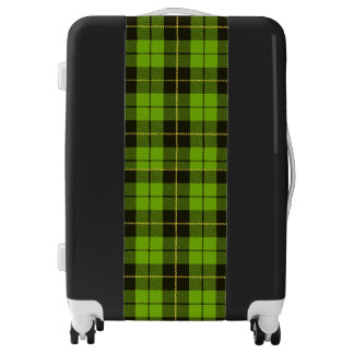 Green plaid suitcase bag, flight bag